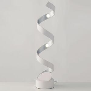 Eco-Light LED stolní lampa Helix, výška 66 cm, bílá stříbrná
