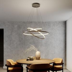 Lucande LED závěsné světlo Ezana ze tří prstenců, nikl