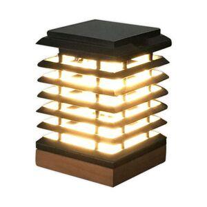 LES JARDINS LED solární stolní lampa Tekura z teakového dřeva