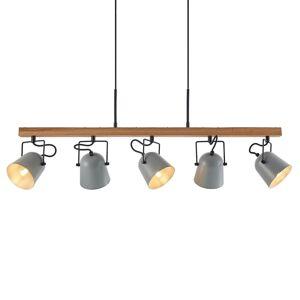 Lindby Lindby Adalin závěsné světlo, pět zdrojů, šedá