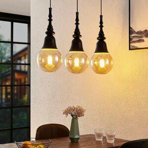 Lucande Lucande Gesja závěsné světlo, 3, podlouhlé, černá
