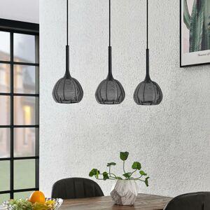 Lucande Lucande Tetira závěsné světlo, 3, podlouhlé, černá